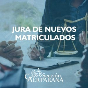 Jura de nuevos matriculados del departamento Paraná