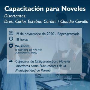 Capacitación Obligatoria para Noveles inscriptos como Procuradores de la Municipalidad de Paraná