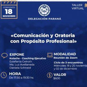 Taller Virtual: ¨Comunicación y Oratoria con Propósito Profesional¨