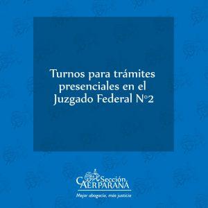 Tramitación de turnos en el Juzgado Federal N°2