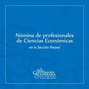 Está disponible la nómina de profesionales de Ciencias Económicas