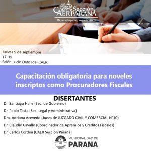 Capacitación obligatoria para noveles inscriptos como Procuradores Fiscales